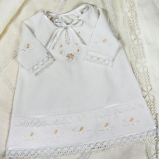 Крестильные принадлежности ручной работы. Ярмарка Мастеров - ручная работа. Купить Крестильная сорочка Лилия. Handmade. Крестильная рубашка