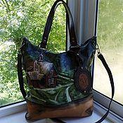 Сумки и аксессуары handmade. Livemaster - original item Leather women`s bag with hand-painted to order for Elena). Handmade.