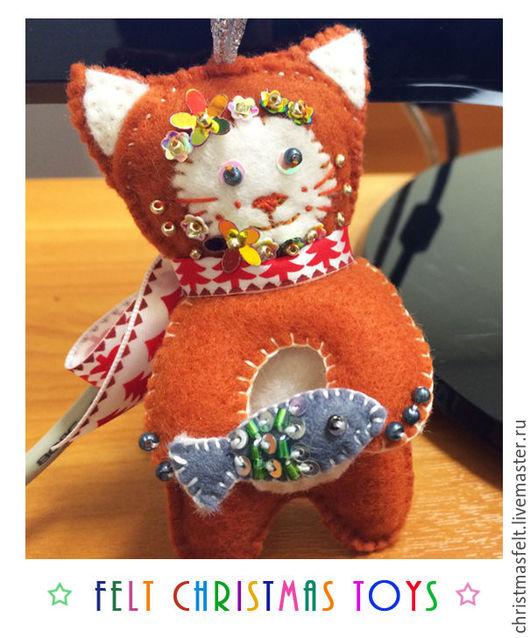 Новый год 2017 ручной работы. Ярмарка Мастеров - ручная работа. Купить Рыжий котик с рыбкой. Handmade. Оранжевый, игрушка