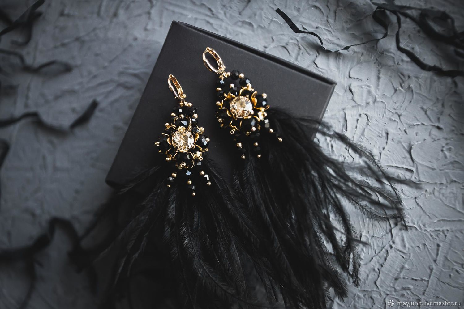 Earrings with black feathers and Swarovski crystals, Earrings, Tambov,  Фото №1