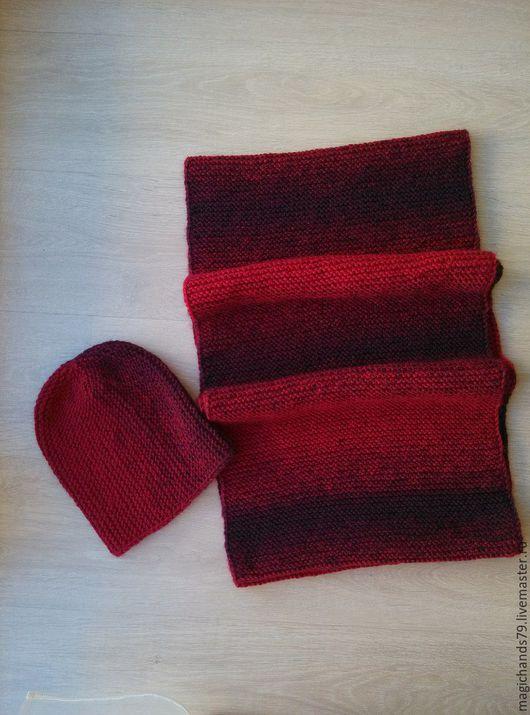 Набор из полушерсти. Шапка удлиненная, снуд на 2 оборота, можно носить вместо шапки. Шапка - 150грн., снуд- 300 грн.