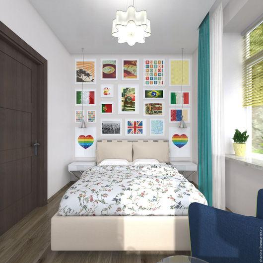 Дизайн интерьера 3х комнатной квартиры, на метро Бауманская. Спальня - вариант №2. Мария Шанина. Ярмарка Мастеров.