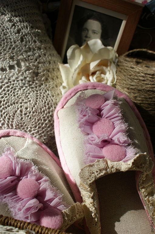 """Обувь ручной работы. Ярмарка Мастеров - ручная работа. Купить Тапочки """"Девичья нежность"""". Handmade. Бледно-розовый, бохо-стиль"""