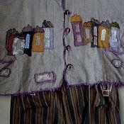 """Одежда ручной работы. Ярмарка Мастеров - ручная работа Бохо жилет изо льна """" Города"""". Handmade."""