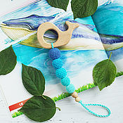 Одежда handmade. Livemaster - original item Teether-teething toy with a fish or a whale turquoise gradient. Handmade.