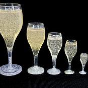 Кукольная еда ручной работы. Ярмарка Мастеров - ручная работа Кукольная еда: бокалы с шампанским. Handmade.