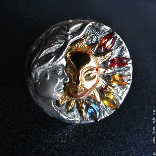 Кольца ручной работы. Ярмарка Мастеров - ручная работа. Купить Кольцо Солнце и Месяц. Handmade. Золотой, кольцо из серебра 925