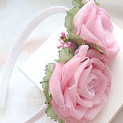Работы для детей, handmade. Livemaster - original item Headband with roses from fabrics