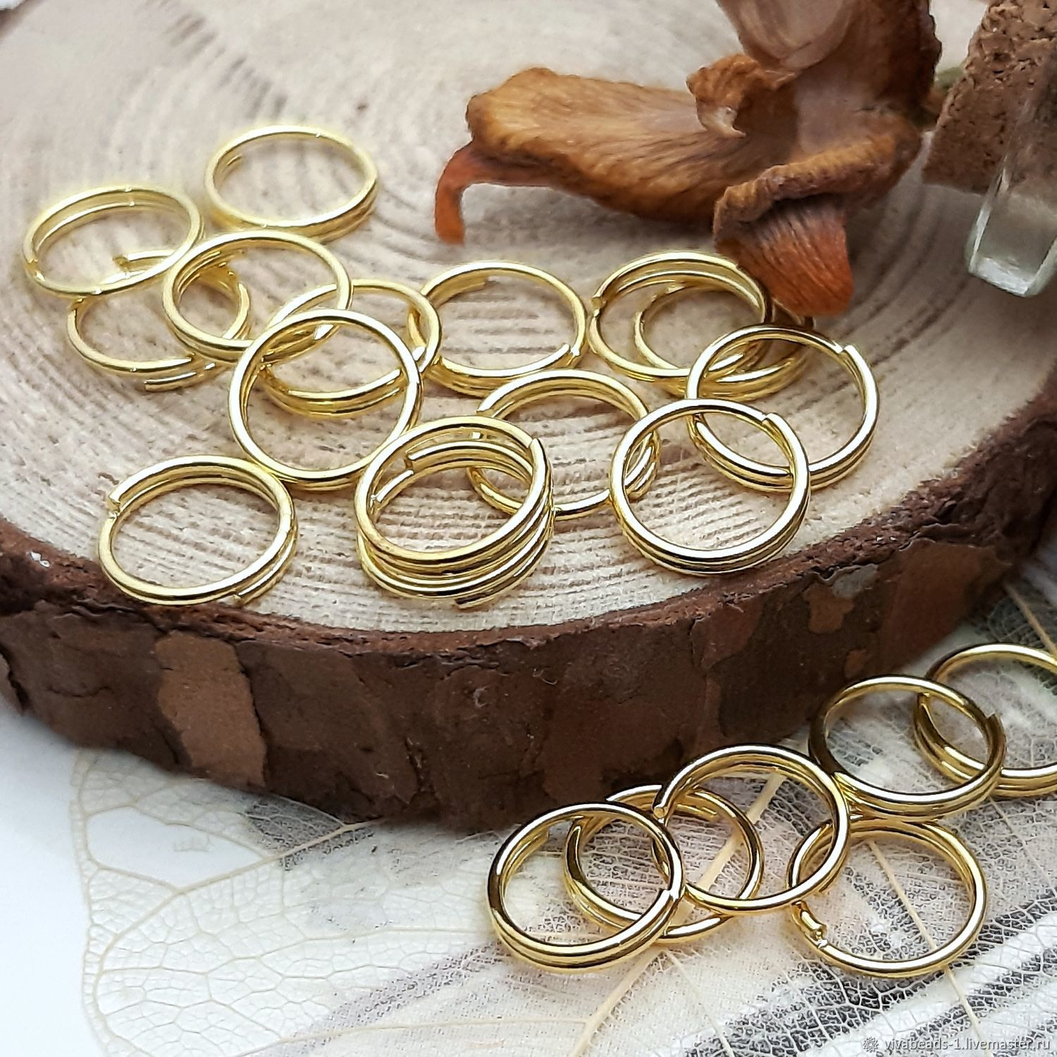 20 PCs. Double rings 7 mm color gold (977-Z), Accessories for jewelry, Voronezh,  Фото №1