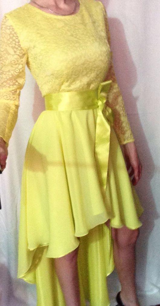 Платья ручной работы. Ярмарка Мастеров - ручная работа. Купить Платье. Handmade. Свежий лимон, яркое платье, гипюровое кружево
