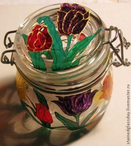 Баночки для кухни с витражной росписью на стекле. Отличный подарок для вашей кухни Художник: Екатерина Макарова