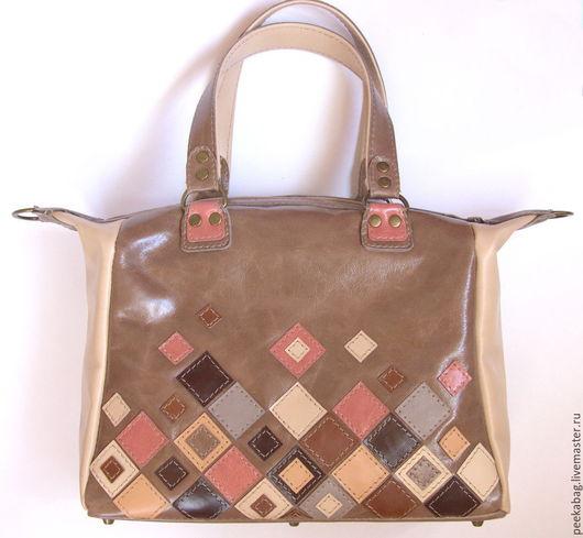 Кожаная сумка с аппликацией. Женская сумка из кожи
