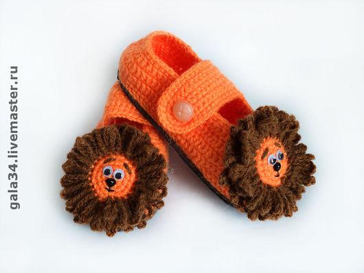 Children's Shoes handmade. Livemaster - handmade. Buy Slippers baby Cubs.Slippers, leo, cool slippers, plastic eyes
