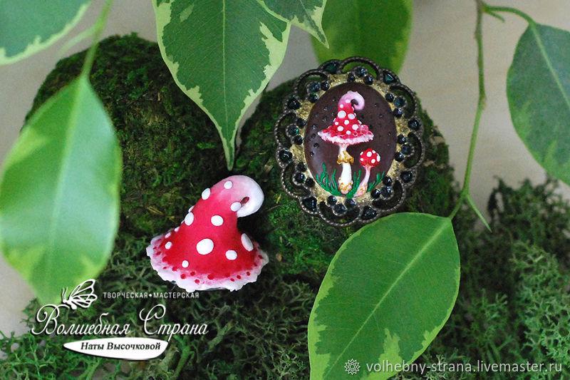 Amanita: brooch and ring (polymer clay, decoration, mushroom), Jewelry Sets, Rostov-on-Don,  Фото №1