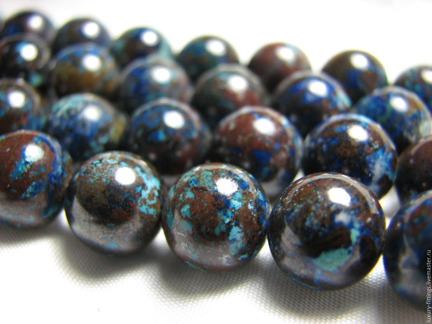 Chrysocolla natural bead 12 mm, Beads1, Moscow,  Фото №1