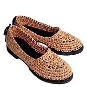 Обувь ручной работы. Ярмарка Мастеров - ручная работа Балетки вязаные Helen , бежевый, хлопок. Handmade.