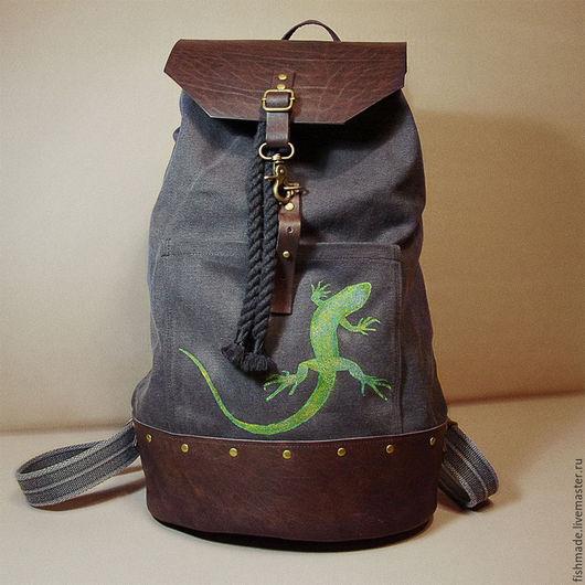 Рюкзаки ручной работы. Ярмарка Мастеров - ручная работа. Купить Рюкзак Lizard. Handmade. Темно-серый, для путешествий, канат