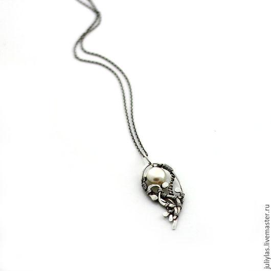 дорогое украшение, кружево из металла, узоры из серебра, кулон с камнем, повседневное украшение, Лазовская Юлия