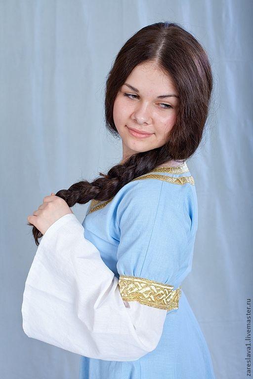 Одежда ручной работы. Ярмарка Мастеров - ручная работа. Купить Платье Оранта голубое. Handmade. Голубой, летнее платье, лён