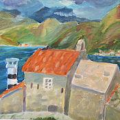 Картины и панно handmade. Livemaster - original item Oil painting landscape Church and the lighthouse of Montenegro. Handmade.
