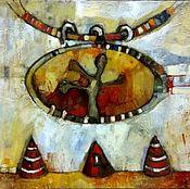 Картины и панно handmade. Livemaster - original item The author`s contemporary painting is no ordinary abstraction white red. Handmade.