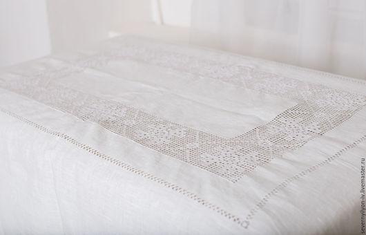 Текстиль, ковры ручной работы. Ярмарка Мастеров - ручная работа. Купить Скатерть Классика 100% лён ручная вышивка. Handmade.