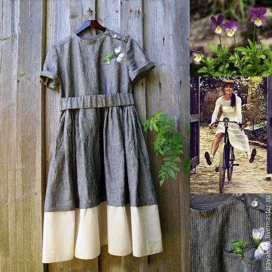Платья ручной работы. Ярмарка Мастеров - ручная работа. Купить Платье льняное Запах полевых фиалок. Handmade. Темно-серый