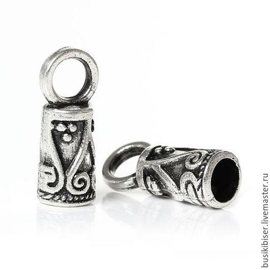Зажим-концевик с узором, античное серебро 14 мм х 5 мм