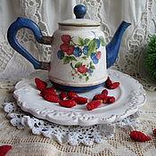 Для дома и интерьера handmade. Livemaster - original item Summer berries interior a teapot. Handmade.