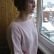 Одежда ручной работы. Ярмарка Мастеров - ручная работа Джемпер  женский вязаный  (пуловер) хлопок Розовый зефир. Handmade.