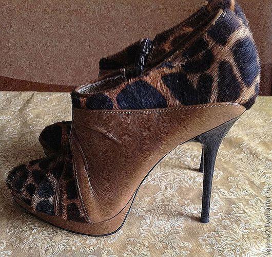 """Обувь ручной работы. Ярмарка Мастеров - ручная работа. Купить Ботильоны """"Мех жирафа"""" роскошные в единственном экземпляре. Handmade. Ботильоны"""
