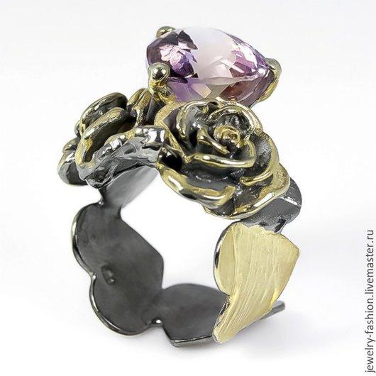 Кольца ручной работы. Ярмарка Мастеров - ручная работа. Купить Кольцо Аметриновая Роза. Handmade. Сиреневый, кольцо из золота