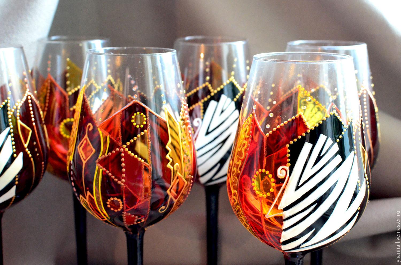 """Бокалы, стаканы ручной работы. Ярмарка Мастеров - ручная работа. Купить Роспись бокалов """"Африка"""". Handmade. Этно, африканские мотивы"""