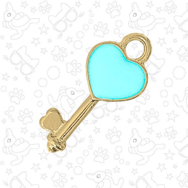 Подвеска ключ-сердечко, мятная эмаль, золото, Фурнитура, Москва,  Фото №1