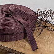 Материалы для творчества ручной работы. Ярмарка Мастеров - ручная работа Хлопковая стропа  25, 30 мм, красно-коричневая. Handmade.
