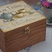 Для дома и интерьера ручной работы. Ярмарка Мастеров - ручная работа Шкатулочка для чая, шкатулка, короб для хранения))). Handmade.