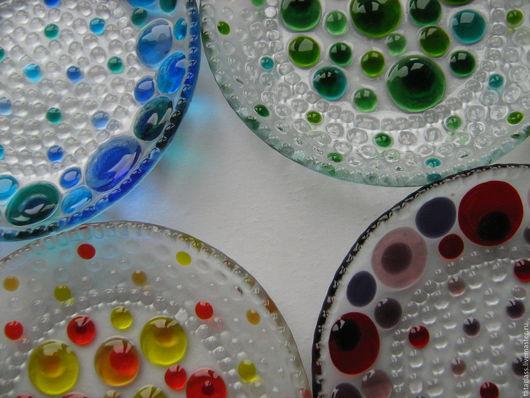 """Тарелки ручной работы. Ярмарка Мастеров - ручная работа. Купить Набор тарелок """"Конфетти"""". Handmade. Фьюзинг, разноцветные"""