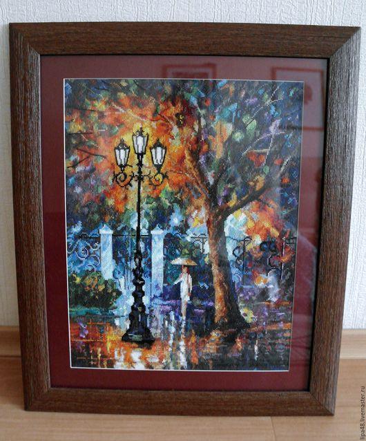 """Пейзаж ручной работы. Ярмарка Мастеров - ручная работа. Купить Вышитая картина """"Аура дождя"""". Handmade. Картина, нитки мулине"""
