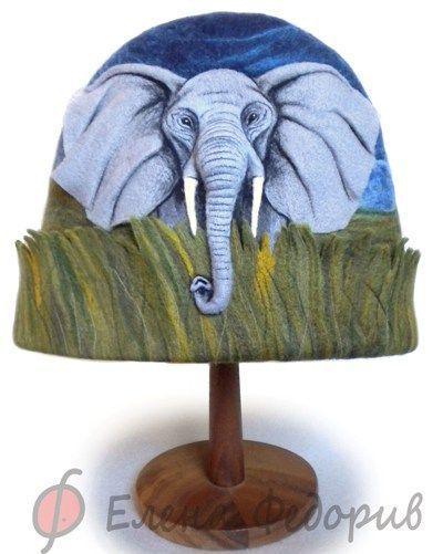 """Банные принадлежности ручной работы. Ярмарка Мастеров - ручная работа. Купить Шапка для бани """"Слон в саванне"""". Handmade. Шапка для бани"""