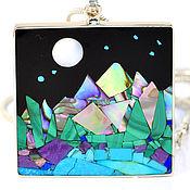 Украшения handmade. Livemaster - original item PENDANT Night landscape. Turquoise, Charoite, Mother Of Pearl, Lapis Lazuli. Handmade.