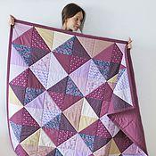 Для дома и интерьера ручной работы. Ярмарка Мастеров - ручная работа Лоскутное одеяло (сиреневое с бежевым). Handmade.