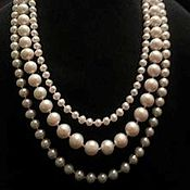 Украшения handmade. Livemaster - original item Pearl necklace of three strands of white pearls-