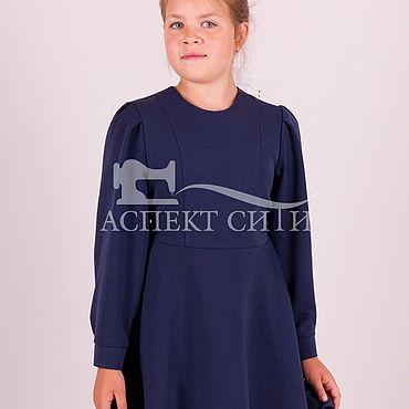 Одежда ручной работы. Ярмарка Мастеров - ручная работа Платье школьное, 4-300пвдс, поливискозное синее. Handmade.