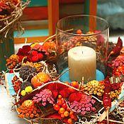 Для дома и интерьера ручной работы. Ярмарка Мастеров - ручная работа Композиция со свечей Бирюзовая Осень. Handmade.