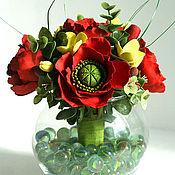 Цветы и флористика ручной работы. Ярмарка Мастеров - ручная работа Маковая вазочка из полимерной глины. Handmade.