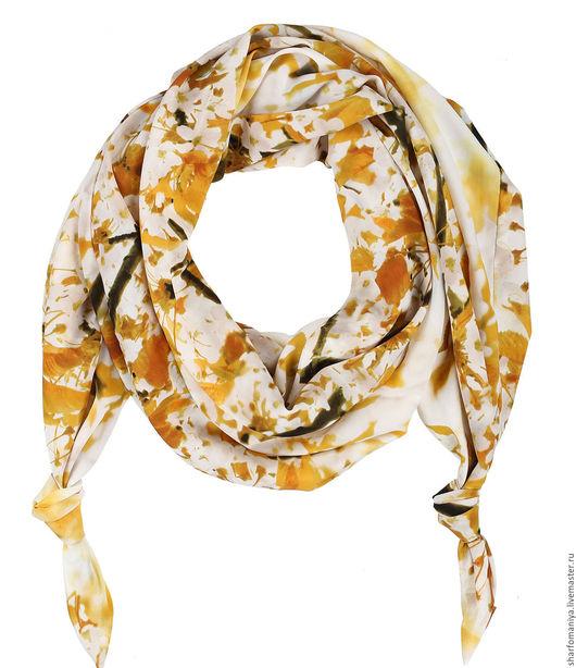 Двойной шарф-долька с узелками `Апрель`  - dolka-шелк-z-0316-208