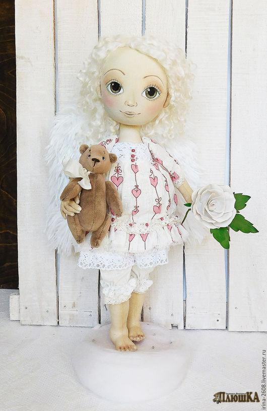 Коллекционные куклы ручной работы. Ярмарка Мастеров - ручная работа. Купить Ангел. Авторская интерьерная текстильная кукла.. Handmade. Белый