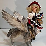 Мягкие игрушки ручной работы. Ярмарка Мастеров - ручная работа Старая сказка на новый лад - Красная Шапочка и Волк. Handmade.