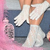 Сувениры и подарки handmade. Livemaster - original item Gifts for March 8:New!Openwork downy set socks gloves. Handmade.