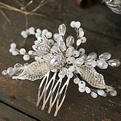 Свадебный салон ручной работы. Ярмарка Мастеров - ручная работа Гребень свадебный с цветами. Украшение свадебное для прически невесты. Handmade.